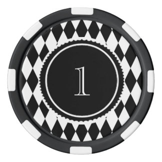 black and white harlequin diamond pattern poker chips