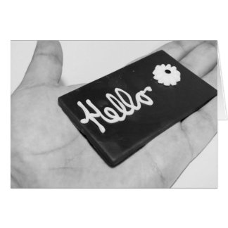 Black and White Hello in Hand Blank Greeting Card