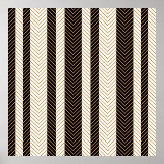 Black and White Herringbone Pattern Poster