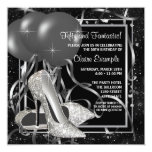 Black and White High Heels Womans Birthday Party Custom Invites