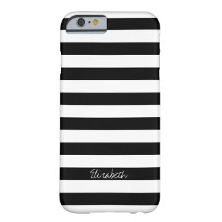 Black and White Horizontal Stripes Name Barely There iPhone 6 Case
