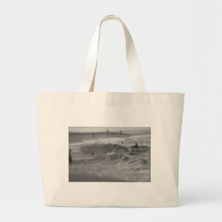 Black and White Horse Large Tote Bag