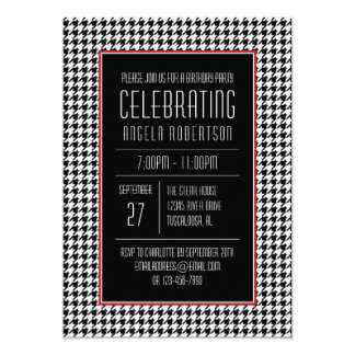 Black and White Houndstooth Birthday Card