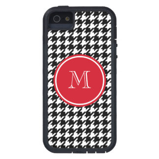 Black and White Houndstooth Red Monogram Tough Xtreme iPhone 5 Case