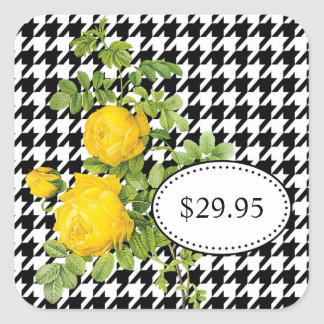 Black and White Houndstooth Yellow Rose Price Tags
