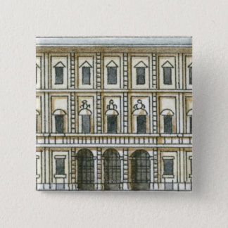 Black and white illustration of facade of 18th 15 cm square badge