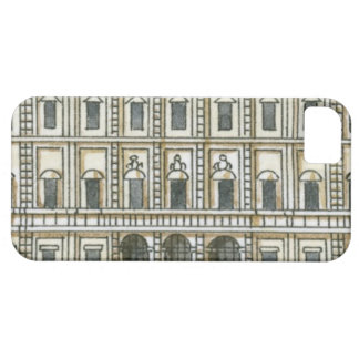 Black and white illustration of facade of 18th iPhone 5 cover