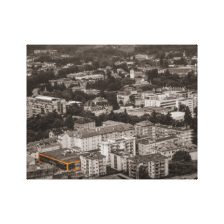 Black and white image OF on orange building Gallery Wrap Canvas