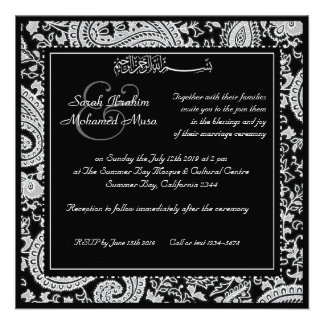 Black and white indian damask  muslim wedding personalized announcements