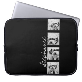 Black and White Instagram Photo Collage Computer Sleeve