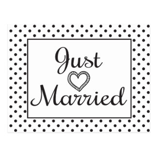 Black And White Just Married Heart Wedding Postcard