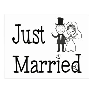 Black And White Just Married Wedding Bride & Groom Postcard
