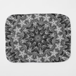 BLACK AND WHITE KALEIDOSCOPIC GEOMETRIC MANDALA BABY BURP CLOTHS