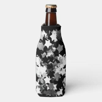 Black and White Kawaii Stars Background Bottle Cooler