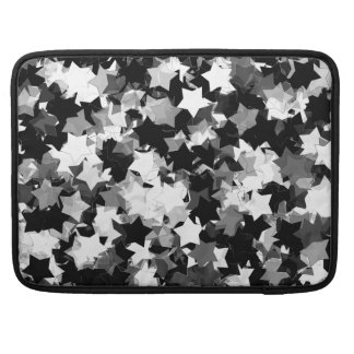 Black and White Kawaii Stars Background Sleeve For MacBooks