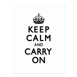 Black and White Keep Calm and Carry On Postcard