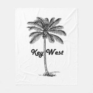 Black and White Key West Florida & Palm design Fleece Blanket