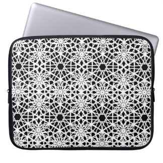 Black and White Lace Patterned Laptop Sleeve