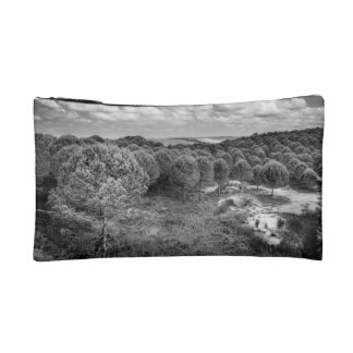 Black and white landscape photography cosmetic bag
