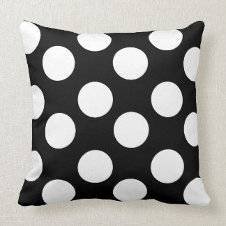 Black and White Large Polka Dot Accent Pillo Throw Cushions