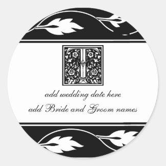 Black And White Leaf Monogram T Round Sticker