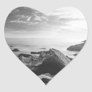 Black and White Little Corona Del Mar Beach Heart Sticker