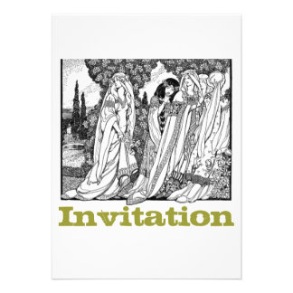 Black And White Medieval Fashions Personalized Invite