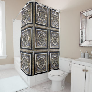 Black And White Medieval Sculpted Marble Pattern Shower Curtain