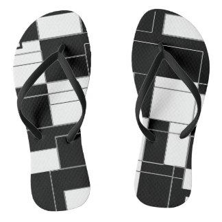Black and White Modern Checkered Slim Flip Flops Thongs