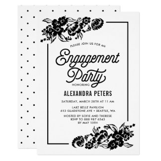 Black and White Modern Floral Engagement Party Card