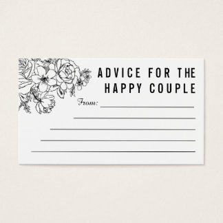 Black and white modern floral marriage advice card