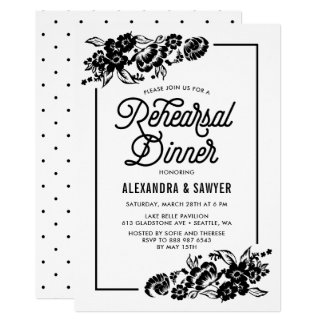 Black and White Modern Florals Rehearsal Dinner Card
