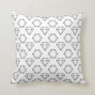 Black and White Modern Gemstone Pattern Cushion