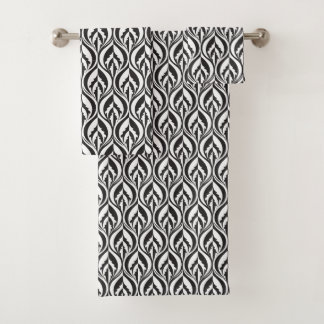 Black and white modern luxe patterned towel