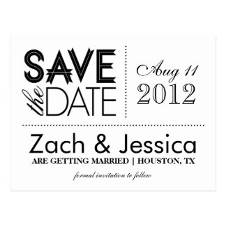 Black and White Modern Typography Save the Date Postcard
