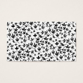Black and white modern watercolor floral pattern business card