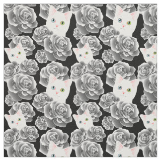 Black and White Monocrome cat fabric