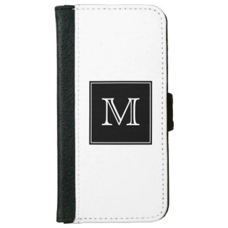 Black and White Monogram iPhone 6 Wallet Case