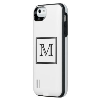 Black and White Monogram iPhone SE/5/5s Battery Case