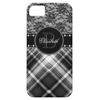 Black and White Monogram Lace and Check. iPhone 5 Covers