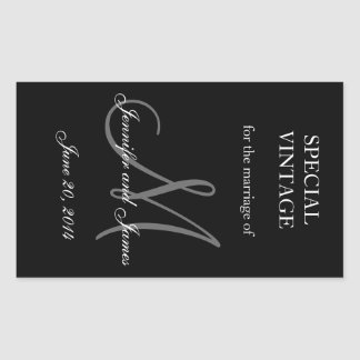 Black and White Monogram Rectangle Wedding Labels