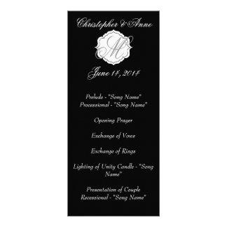 Black and White Monogram Wedding Ceremony Program Personalized Rack Card