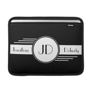 Black and White Monogrammed Macbook Air Sleeve