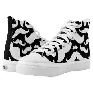 Black and White Moustache Pattern High Tops