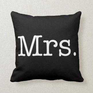 Black and White Mrs. Wedding Anniversary Quote Cushion