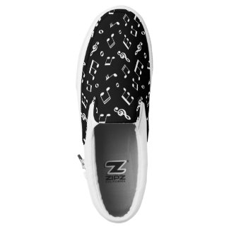 Black and White Music Notes Pattern Printed Shoes