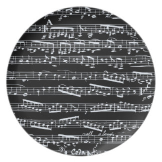 Black and white music notes plate
