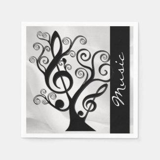 Black and White Music Treble Clef Tree Napkins 2 Paper Serviettes