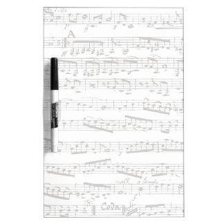 Black and white musical notes dry erase board