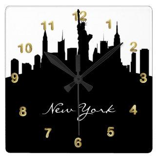 Black and White New York Skyline Square Wall Clock